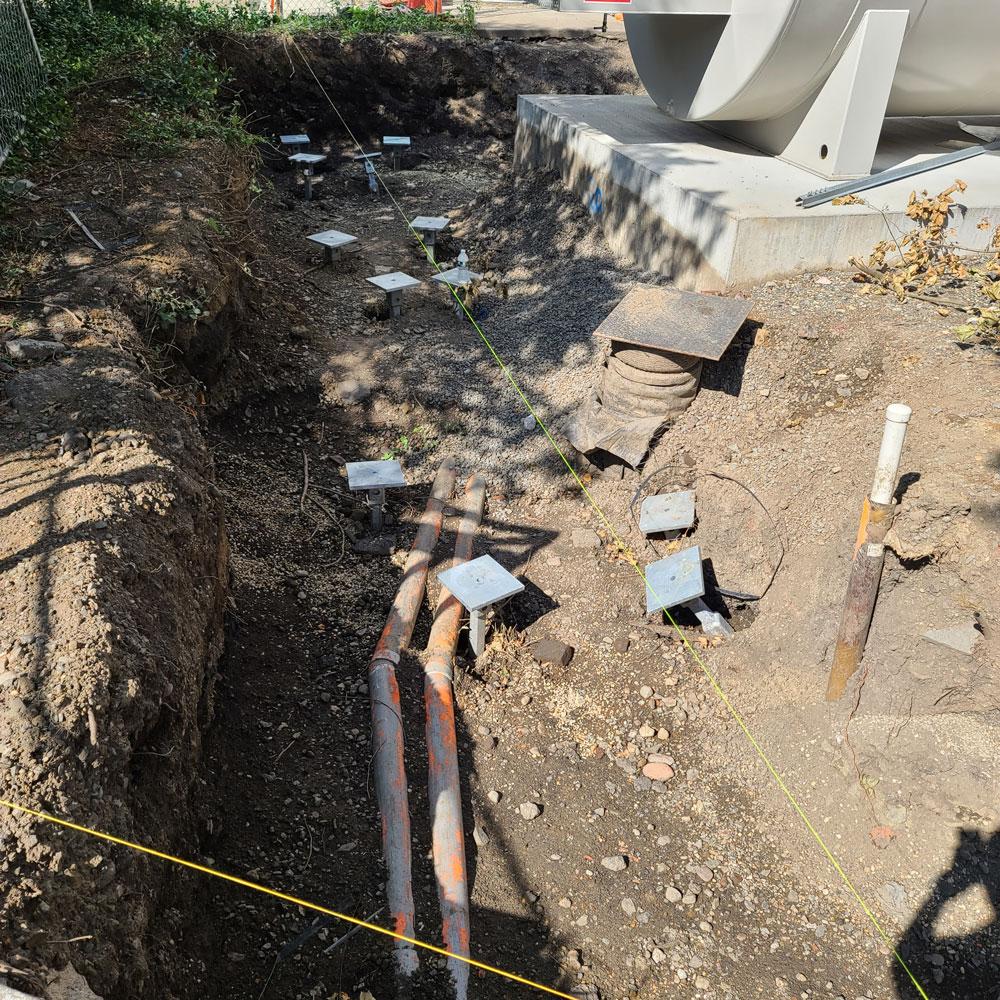 new flood wall foundation underpinning