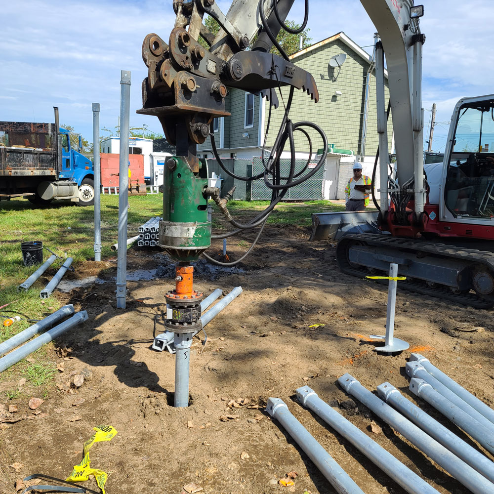 close up of drilling into ground