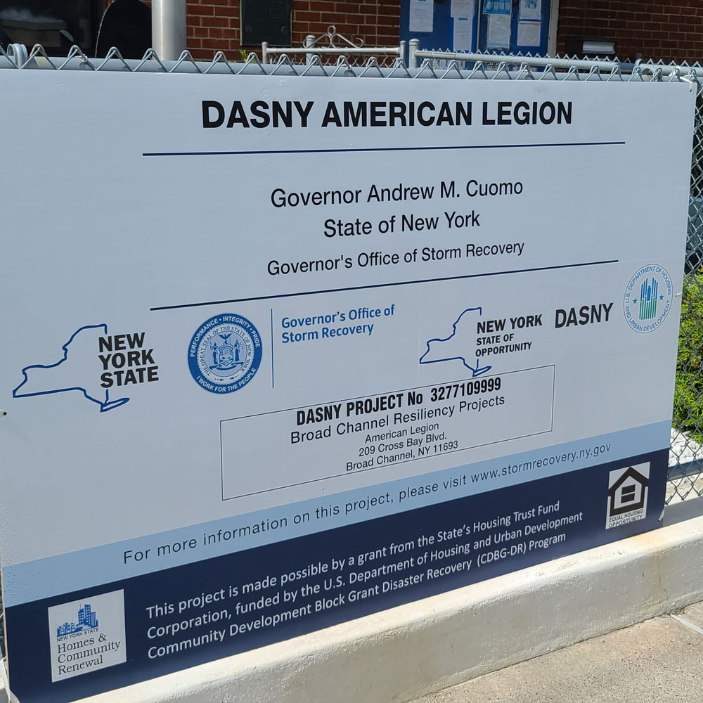 Storm Recovery sign, from the New York Governor's office